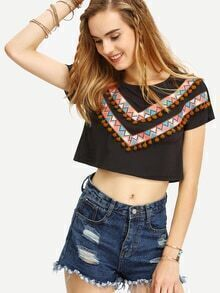 Black Short Sleeve Pom Pom Trim Print T-shirt