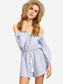 Blue Off The Shoulder Tie Waist Tassel Jumpsuit
