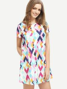 Multicolor Geometric Print Shift Dress