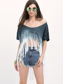 Ombre Tassel High Low T-shirt