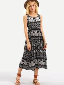 Tribal Print Elastic Waist Sleeveless Dress - Black