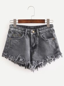 Raw Hem Black Denim Shorts