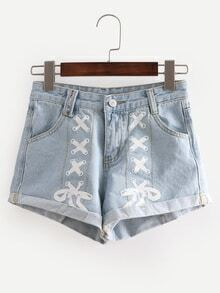 Printed Rolled Hem Light Blue Denim Shorts
