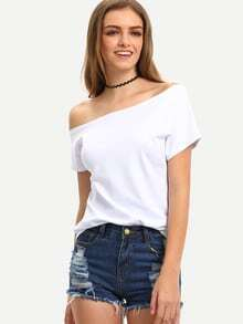 Off-The-Shoulder White T-shirt