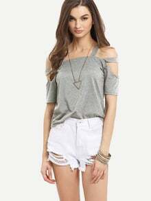 Ladder-Cutout Shoulder T-shirt - Grey