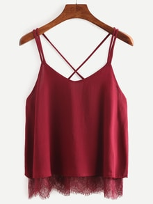 Lace Trimmed Crisscross Chiffon Cami Top - Burgandy