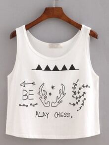 Graphic Print Crop Tank Top - White