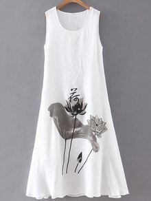White Lotus Print Sleeveless Shift Dress