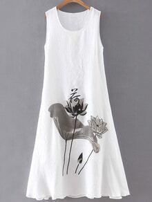 White Lotus Print Sleeveless Shift Dress