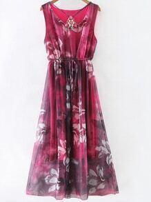 Red Gem Beadings Flower Print Tie Waist Maxi Dress