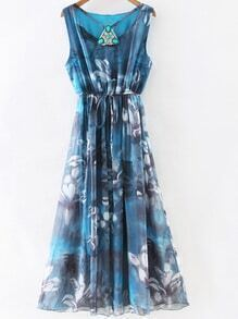 Blue Gem Beadings Flower Print Tie Waist Maxi Dress
