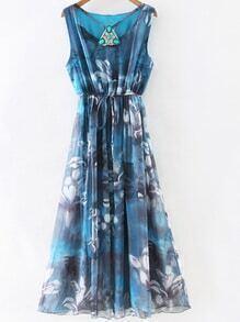 Blue Gem Beadings Flower Print Tie Waist Maxi Dress