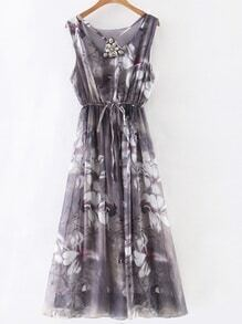 Grey Gem Beadings Flower Print Tie Waist Maxi Dress