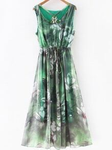 Green Gem Beadings Flower Print Tie Waist Maxi Dress