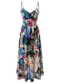 Multicolor Print Spaghetti Strap Lace Up Backless Flare Maxi Dress