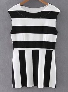 Black White Round Neck Sleeveless Striped Blouse