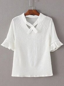 White V Neck Ruffle Cuff Short Sleeve Blouse