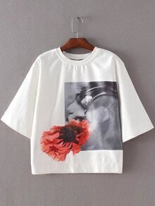 White Elbow Sleeve Round Neck Flower Print Blouse
