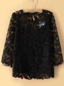 Black Keyhole Back Hollow Lace Blouse