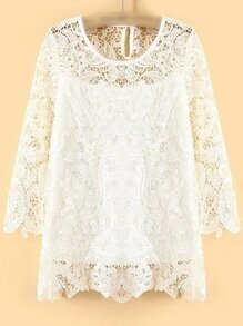 White Keyhole Back Hollow Lace Blouse