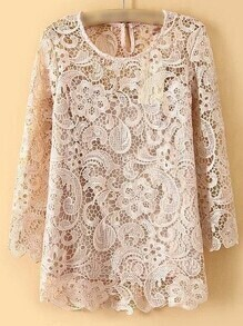 Pink Keyhole Back Hollow Lace Blouse
