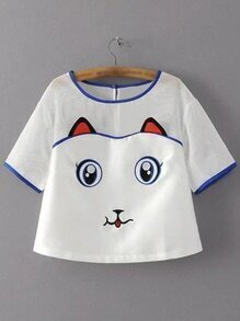 White Mesh Splicing Keyhole Back Cat Embroidery Blouse
