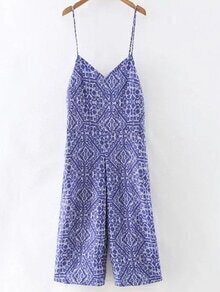 Blue Pockets Print Backless Spaghetti Strap Jumpsuit