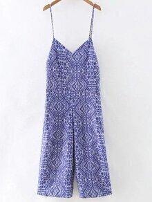 Blue Pockets Print Backless Spaghetti Strap Jumpsuit