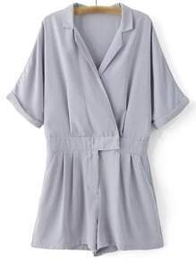 Grey Lapel Zipper Front Pockets Roll Cuff Romper