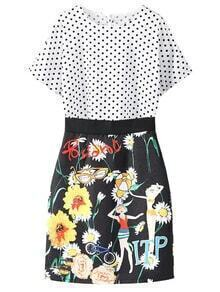 Polka Dots Blouse With Flower Print Jacquard Skirt