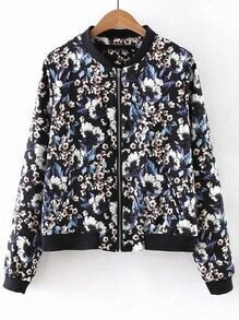 Multicolor Ribbed Cuff Zipper Front Flower Print Jacket