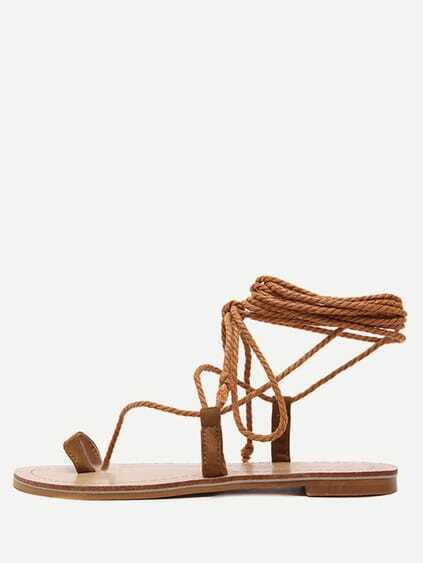 Brown Toe-ring Lace-up Platform Sandals