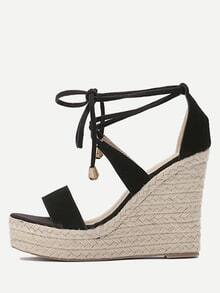 Black Open Toe Wedges