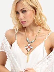 Gold Gemstone Tassel Pendant Necklace