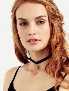 Black Velvet Star Pendant Choker Necklace