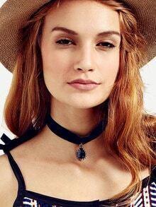 Black Velvet Pendant Choker Necklace