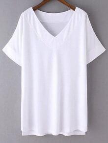 White V Neck Dip Hem Short Sleeve Casual T-shirt