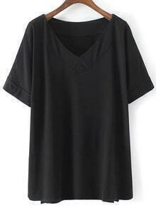Black V Neck Dip Hem Short Sleeve Casual T-shirt
