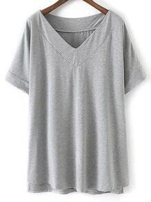 Light Grey V Neck Dip Hem Short Sleeve Casual T-shirt
