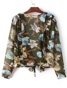 Green Self-tie Bow Floral Print Cardigan Kimono