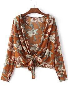 Yellow Self-tie Bow Floral Printing Cardigan Kimono
