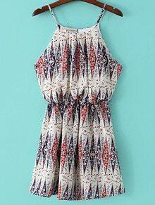 White Elastic Waist Print Spaghetti Strap Dress