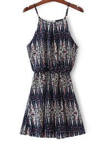 Navy Elastic Waist Printed Spaghetti Strap Dress