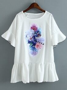 White Bell Sleeve Rhinestone Flower Patch Shift Dress