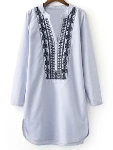 Light Blue V Neck Embroidery Stripe Shirt Dress