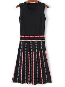 Black Sleeveless Flowers Pattern Knit Dress