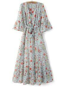 Multicolor Bell Sleeve Tie-Waist Bow Floral Print Maxi Dress