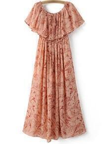 Pink Ruffle Boat Neck Chiffon Print Midi Dress