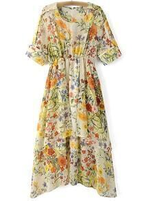 Multicolor Elastic Waist Zipper Back Floral Print Midi Dress
