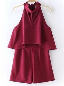 Burgundy Zipper Back Halter Bow Backless Romper